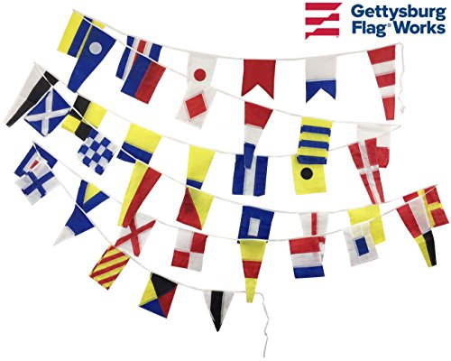 Code Signal Flag Set - String of 40 Decorative Flags in Nylon and Polyester, for nautical and boating