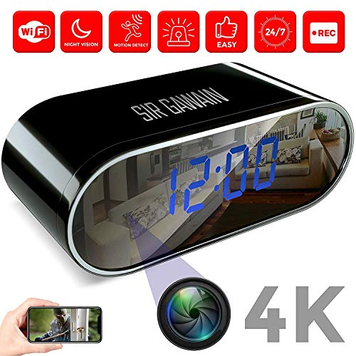 SIRGAWAIN Hidden Spy Camera Alarm Clock WiFi | 4K Video | Nanny Cam | Home Surveillance | Small Personal Security | Night Vision and Motion Detection | Wide 150° Viewing Angle