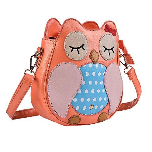 Kids Owl Faux Leather Shoulder Bag for Little Girls Toddlers Crossbody Handbag Purses - Pink