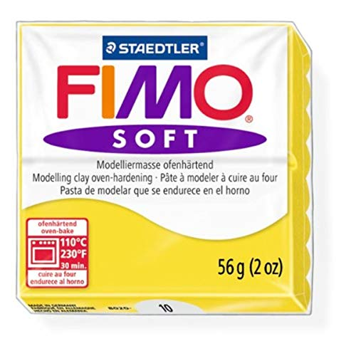 (Staedtler Fimo Soft Lemon (10) Oven Bake Modelling Clay Moulding Polymer Block Colour 56g (1 Pack))
