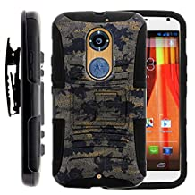 Moto X 2nd Gen Case, Moto X 2nd Gen Holster, Two Layer Hybrid Armor Hard Cover with Built in Kickstand for Motorola Moto X 2014 2nd Generation XT1092 XT1093 XT1094 XT1095 XT1096 XT1097 (AT&T, T Mobile, Verizon, US Cellular) from MINITURTLE | Includes Screen Protector - Ancient Camouflage