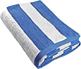 Utopia Towels Large Beach Pool Towel - Towel in Cabana Stripe - Blue - Cotton - Easy Care - Maximum Softness and Absorbency (35 x 70 inches) - by