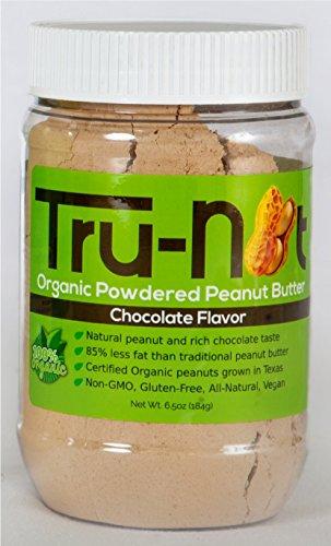 Tru-Nut Organic Powdered Peanut Butter : Keto, Vegan, Gluten Free, 100% USDA Organic (Chocolate, 6.5oz)