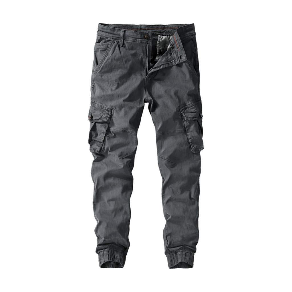 FKSESG Pants for Men Men's Pleated Multi Pockets Mid Waist Solid Loose Long Pants Dark Gray