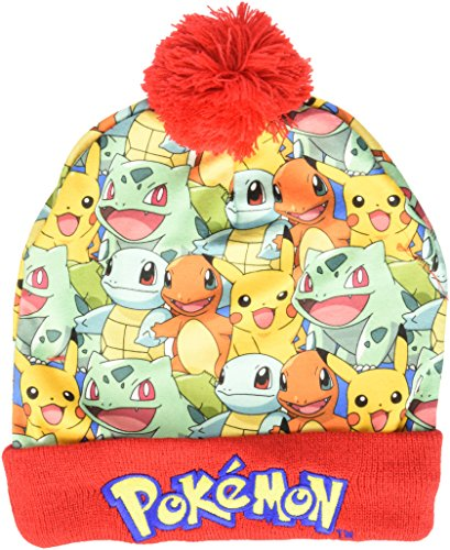 BIOWORLD Pokemon Kanto Starter Group Sublimated Pom Beanie Cap - Pokemon Charizard Child Costumes