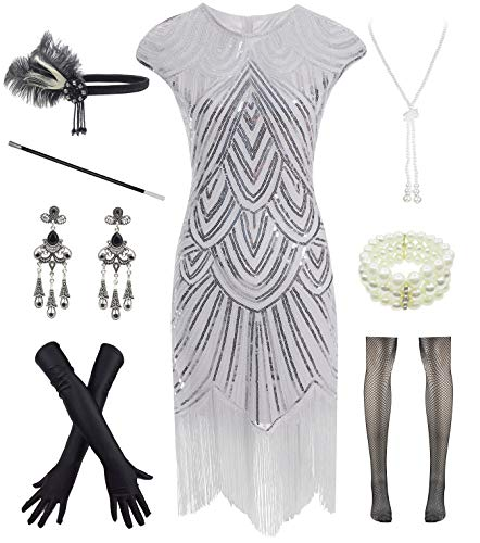- Women 1920s Vintage Flapper Fringe Beaded Gatsby Party Dress with 20s Accessories Set White