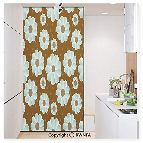 Non-Adhesive Privacy Window Film Door Sticker Retro Daisy Pattern with Polka Dot Background Abstract Design Glass Film 23.6 in. by 78.7in. (60cm by 200cm),Brown Pale Seafoam Umber