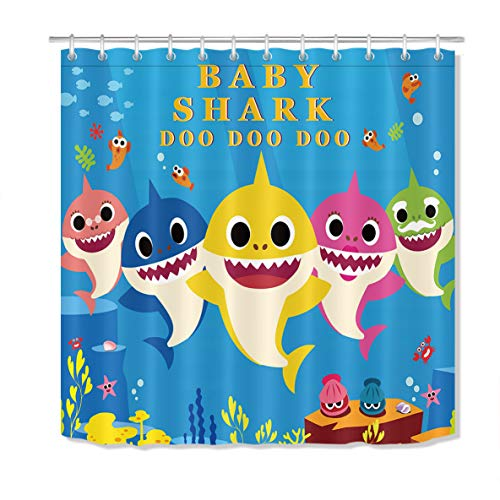 LB Cute Cartoon Baby Shark Shower Curtain Blue Underwater Sea World Starfish Coral Reefs Kids Bathroom Curtain Decor Hooks Included,Polyester Fabric Waterproof,72x72 inch