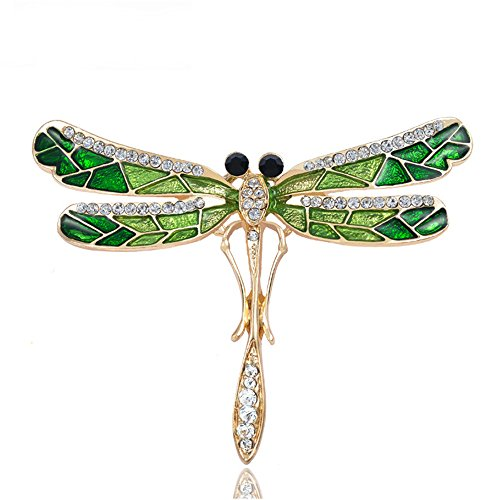 Grtdrm Created Rhinestone Crystal Brooch, Pretty Light Green Dragonfly Fashion Pin Gift for Women Girls ()