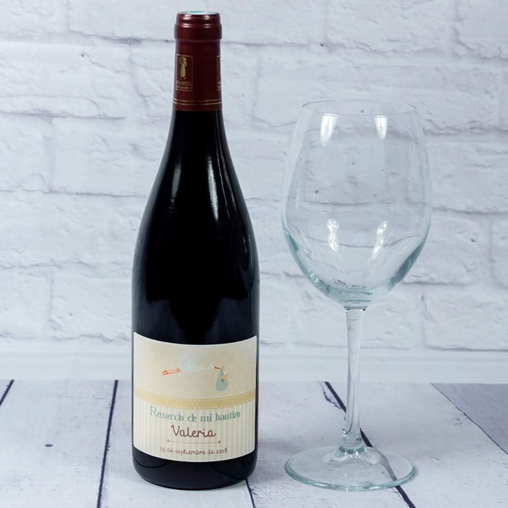 Calledelregalo Regalo Personalizado para bautizos: Botella de Vino Personalizable con el Nombre del bebé y Fecha