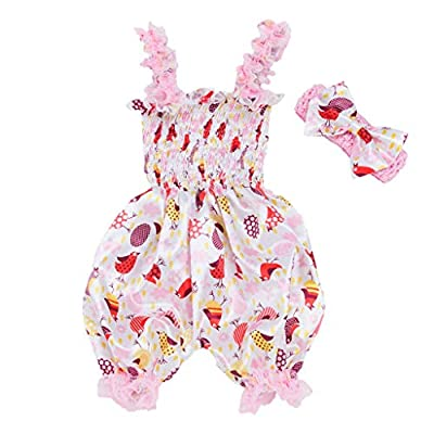 NUWFOR Easter Toddler Baby Cartoon Print Romper Bodysuit Jumpsuit+Headband Set Outfit