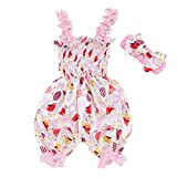 0-12M Easter Toddler Infant Baby Cartoon Print Romper Floral Ruffles Sling Bodysuit Jumpsuit + Bowknot Headband Outfit Set (Pink, 0-3 Months)
