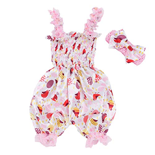 Baby and Toddler Girls Dresses Child Kids Skirt Sleeveless Bodysuit Jumpsuit+Headband Set Outfit (6-12 Months, ()