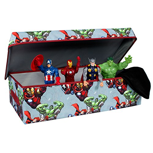 Avengers Collapsible Kids Slim Toy Storage Chest by Marvel - Sleek Flip-Top Toy Organizer Bin for Closets, Kids Bedroom, Boys & Kids Toys - Foldable Toy Basket Organizer with Strong Handles & Design by Everything Mary
