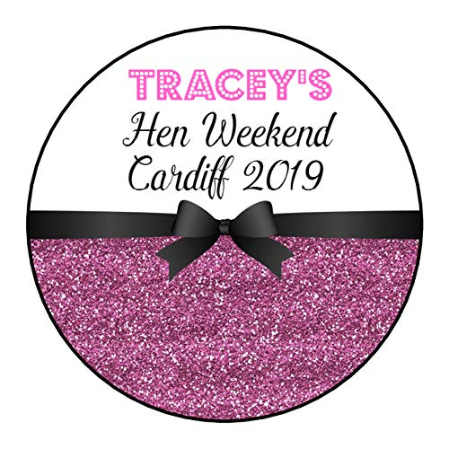 A4 Sheet of Round PERSONALISED Hen Night Weekend Party Favour Stickers Labels for Gift Bag Glitter Effect 12 COLOUR OPTIONS 2 Stickers x 140mm, Black