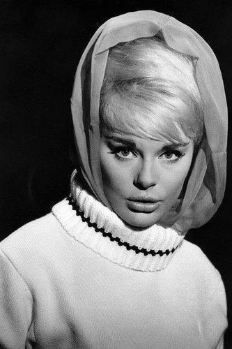 Elke Sommer 1960's portrait in white sweater wearing scarf on head 24x36 Poster (Elk Portrait)