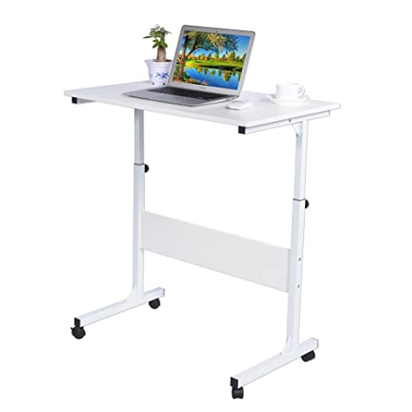 Mesa Ajustable de Ordenador Portatil con Ruedas Bloqueables, Escritorio de Computadora para Cama Sofá, Carro para Laptop, Mesa de Escritura Estudio ...