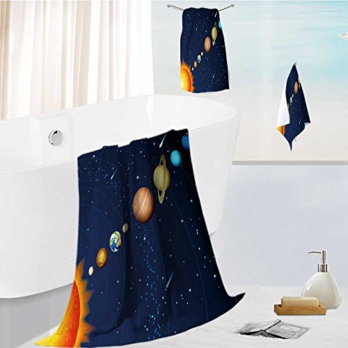 AuraiseHome Luxury Bath Towel Set Solar system Soft, Plush and Highly Absorbent 13.8''x13.8''-11.8''x27.6''-27.6''x55.2'' by AuraiseHome