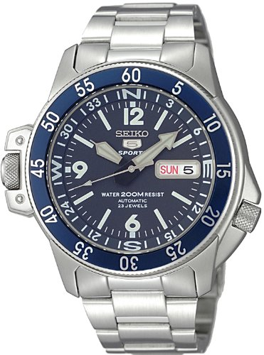 Seiko 5 Sports #SKZ209J1 Men's Atlas Map Meter Stainless Steel Automatic Dive Watch