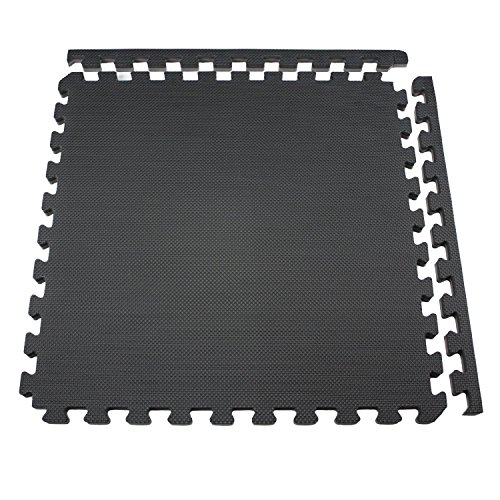 IncStores - Jumbo Soft Interlocking Foam Tiles (16 Tiles, Black/Grey) Perfect for Martial Arts, MMA, Lightweight Home Gyms, p90x, Gymnastics, Cardio, and Exercise by IncStores (Image #2)