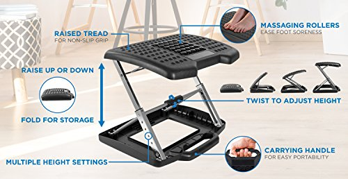 Mount-It! Adjustable Footrest with Massaging Beads Adjustable Height and Angle Office Foot Rest Stool for Under Desk Support, 3-Level Height Adjustment, Black by Mount-It! (Image #2)