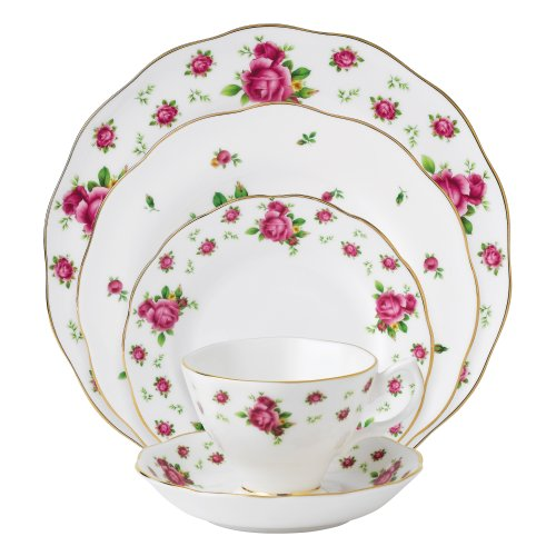 Royal Albert New Country Roses White Vintage Formal Place Setting, 5-Piece ()
