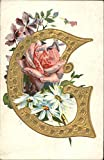 Large Gold G with Roses & Daisies Alphabet Letters Original Vintage Postcard