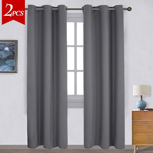 NICETOWN Three Pass Microfiber Noise Reducing Thermal Insulated Solid Ring Top Blackout Window Curtains Drapes Two Panels42 X 84 InchGray