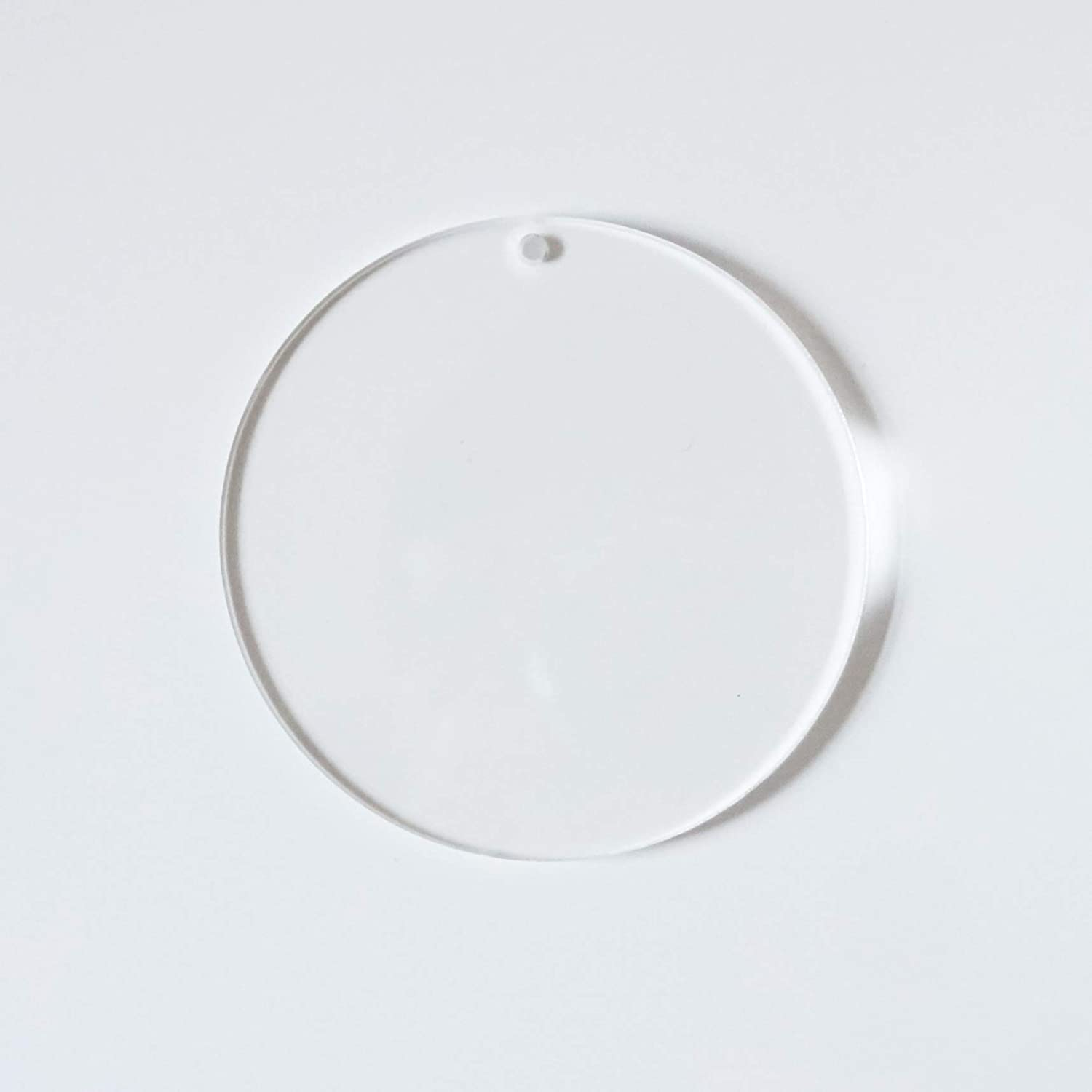 Round Clear Blank Acrylic Circle Discs with Keychains 4 In, 20 Pack