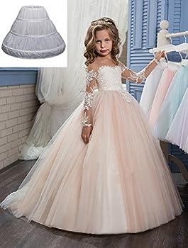 Abaowedding Girls 3 Hoops Petticoat Full Slip Flower Girl Crinoline Skirt
