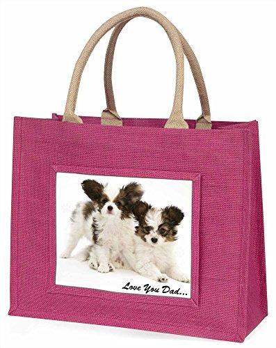 Advanta Papillon Hunde, LOVE YOU Dad Große Einkaufstasche Weihnachten Geschenk Idee, Jute, Rosa, 42x 34,5x 2cm
