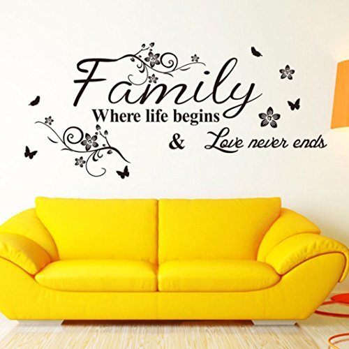 Family Tree Wallpaper - Wall Stickers,Geyou Removable Family Quotes Sayings With Butterfly Wall Sticker For Kids Home Living Room Decor Art Vinyl Mural Decal New (A)