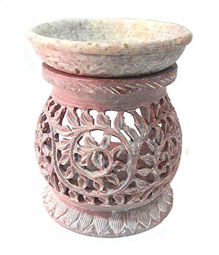 (AUM Round Hand Carved Decorative Traditional Floral Design Filigree Mesh Work Soft Stone Aroma Lamp Diffuser Essential Oil Burner Warmer Votive Tea Light Holder )