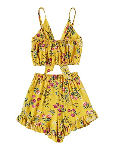 Yellow Floral Romper - MakeMeChic Women's Summer Floral Boho Tie Cami Crop Top with Shorts #Yellow S