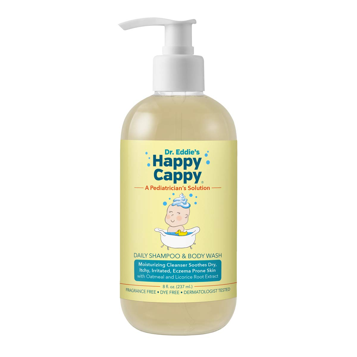 Dr. Eddie's Happy Cappy Daily Shampoo & Body Wash for Children, Soothes Dry, Itchy, Sensitive, Eczema Prone Skin, Dermatologist Tested, No Fragrance, No Dye, 8 oz