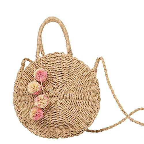 Large Straw Beach Bag with Inner Pouch by Hera Amour | Crossbody Summer Beach Tote with Pom Poms and Top Handles - Over Large Tote