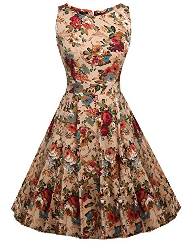 ARANEE 50s Rockabilly Floral Print Audrey Dress Retro Cocktail Party Dress,Large,Apricot Floral