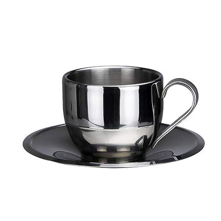 LC_Kwn Juego de Tazas de café - Acero Inoxidable Doble Pared ...