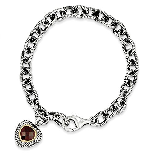 Jewels By Lux Sterling Silver w/14K Gold Garnet Heart Link Bracelet