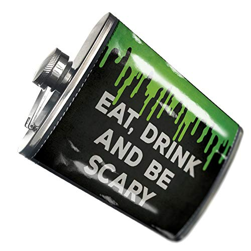NEONBLOND Flask Eat, Drink and Be Scary Halloween Green Slime Hip Flask PU Leather Stainless Steel Wrapped