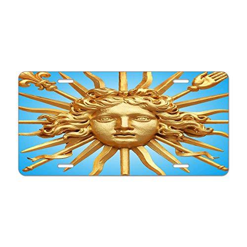 Mugod Human Face Aluminum License Plate Golden Ornate Gate of Chateau De Versailles Depicting Human Face Decorative Car License Plate Cover with 4 Holes Car Tags 6