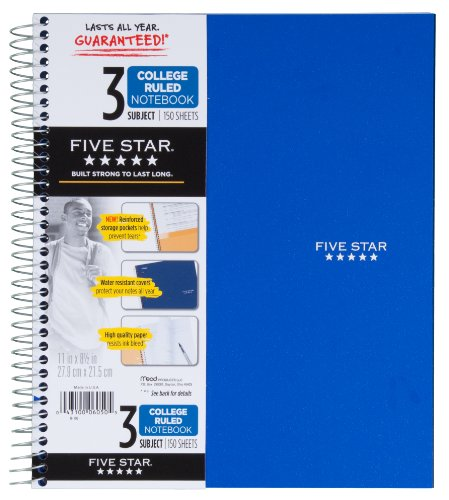 043100060505 - Mead 5 Star Notebook, 3 Subject College Ruled carousel main 1