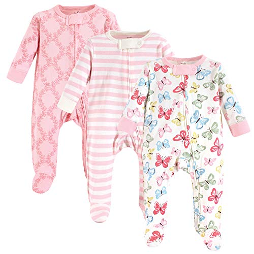Touched by Nature Unisex Baby Organic Cotton Sleep and Play, Butterflies 3-Pack, 0-3 Months (3M) (Cotton Clothing Childrens Organic)