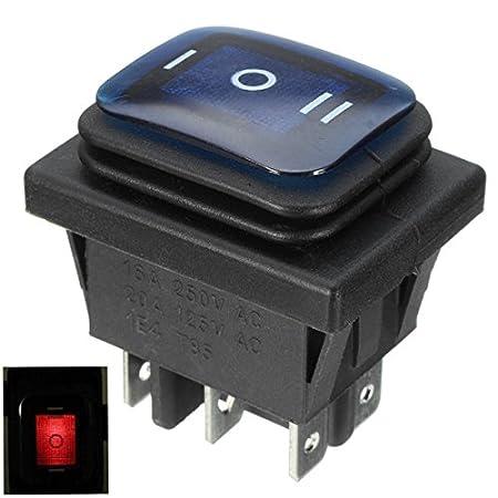 EsportsMJJ Commutateur À Bascule 16A 250V 3 Positions 6 Broches Interrupteur À Bascule Étanche avec Lampe - Vert