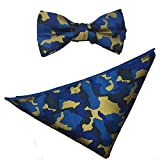 AINOW Mens Fashion Wedding Party Business Pre-tied Bow tie Pocket Square Hankerchief Set bowtie Camouflage Colors (Blue Camouflage) offers