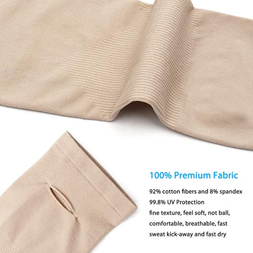 SHINYMOD UV Protection Cooling Arm Sleeves for Men Women Sunblock Cooler Protective Sports Gloves Running Golf Cycling Basketball Driving Fishing Long Arm Cover Sleeves (1 Pair Beige) by SHINYMOD (Image #2)