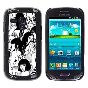 Samsung Galaxy S3 MINI i8190 (NOT S3) , JackGot - Impreso colorido protector duro espalda Funda piel de Shell (Bruja Negro Blanco Profundo Woodstock)