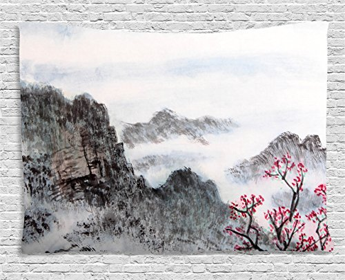 Tapestry Wall Asian (Ambesonne Asian Tapestry by, Traditional Chinese Painting Landscape Sakura Cherry Tree Cloudy Mountains, Wall Hanging for Bedroom Living Room Dorm, 60WX40L Inches, Seal Brown White Pink)