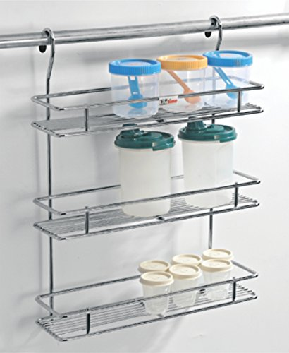 LIFETIME WIRE PRODUCTS Stainless Steel Hanging Spice Rack, Silver
