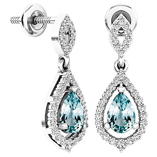 - Dazzlingrock Collection 6X4 MM Each Pear Aquamarine & Round White Diamond Ladies Dangling Drop Earrings, Sterling Silver